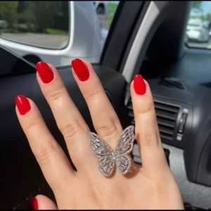 Adjustable Silver cubic zirconia butterfly ring